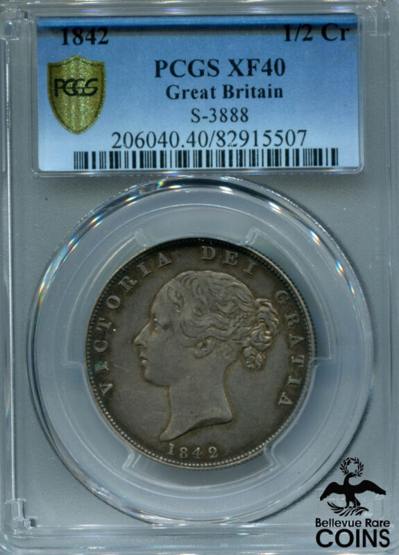 1842 Great Britain Silver 1/2 Crown PCGS XF 40 (Extra Fine) S-3888 KM #740 Coin