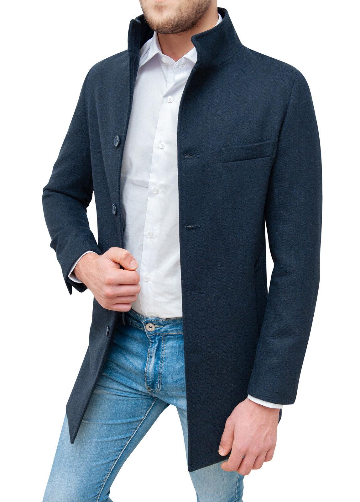 fae6b03c78fc6 Cappotto uomo sartoriale blu scuro slim fit casual elegante giacca  invernale.