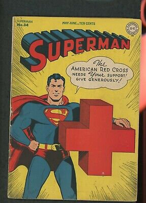Superman 34 1945 Very Good Condition 4.0 Great WWII Cover for Red Cross No Restr