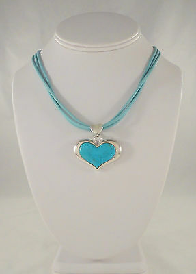 """LARGE VTG SX STERLING SILVER TURQUOISE 3 STRAND HEART PENDANT NECKLACE 17.75"""""""
