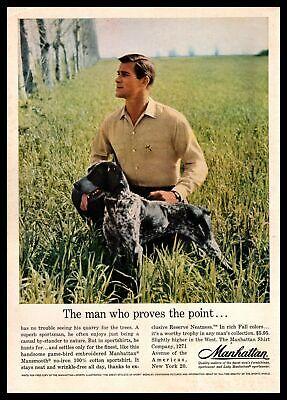 1961 Manhattan Game Bird Shirt German Shorthaired Pointer Hunting Dog Print Ad