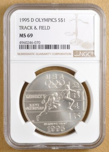 1995 D Olympics Track & Field Commemorative Silver Dollar NGC MS69