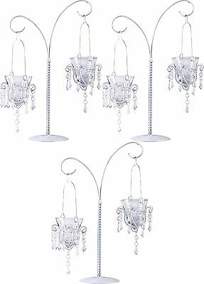 """3 White 17"""" tall Crystal chandelier Candle Holder candelabra table centerpiece](Table Chandelier Centerpieces)"""