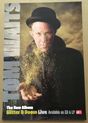 TOM WAITS Rare 2009 PROMO POSTER for Glitter CD 13x19 NEVER DISPLAYED USA MINT