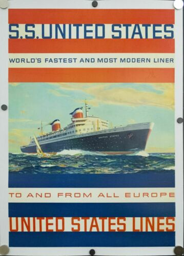 "SS UNITED STATES LINES  Large Flagship Travel Agency Poster  /  20"" x 30"""