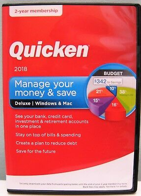 INTUIT QUICKEN DELUXE 2018 2-YEAR MEMBERSHIP ( WINDOWS & MAC ) , NEW IN BOX