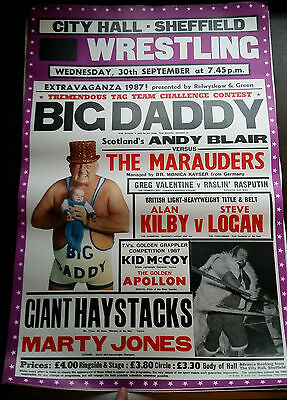 RARE ORIGINAL 1987 LARGE A1 WRESTLING POSTER BIG DADDY GIANT HAYSTACKS SHEFFIELD