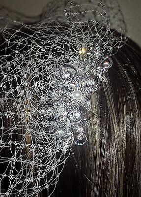 Brides Ivory birdcage veil 9