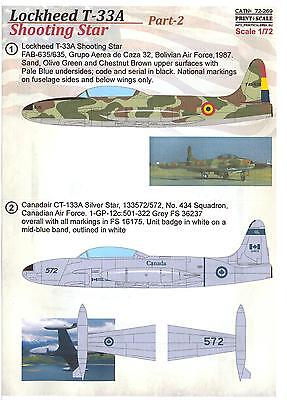 Print Scale Decals 1/72 LOCKHEED T-33A SHOOTING STAR Part 2 for sale  USA