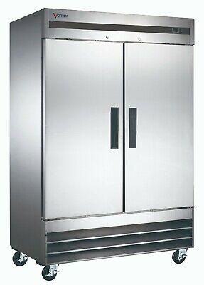 Vortex Commercial 2 Door Reach-in Freezer In Stainless Steel - 47 Cu. Ft.