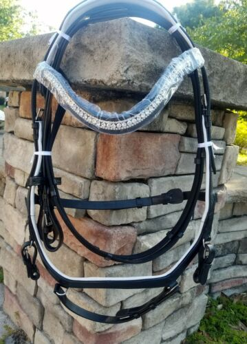 Horse Black Leather Micklem style bridle White padding & crystal bling brow band