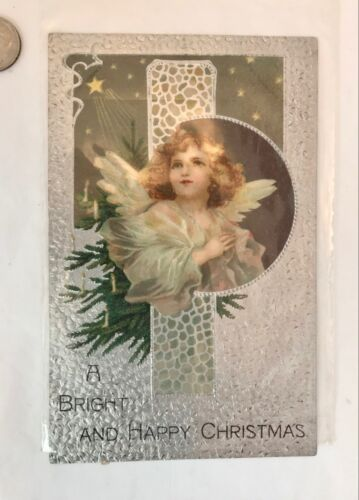 "ANTIQUE German POST CARD ""Bright & Happy Christmas"" EMBOSSED w/ Stamp Posted"