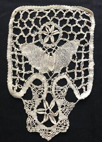 "Old Vintage Bobbin Lace Butterfly Insert Joke Dress Front Remnants 10 "" x 6 1/2"""
