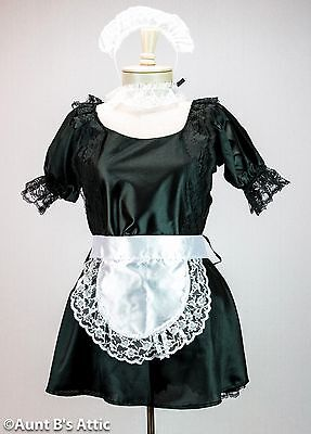 French Maid Sexy 6 Piece Black Dress W/ White Apron Headpiece Choker & Cuffs Lg