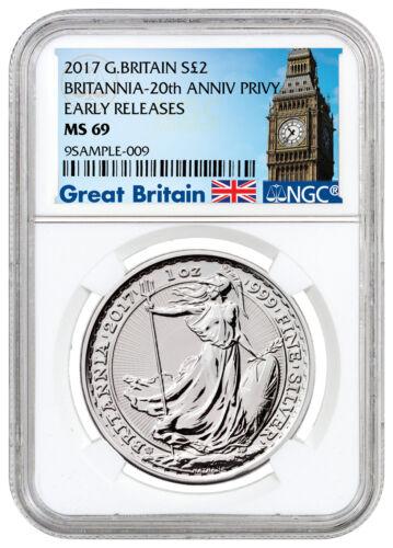 2017 G. Britain 1 oz Silver Britannia 20th Trident Privy £2 NGC MS69 ER SKU46475