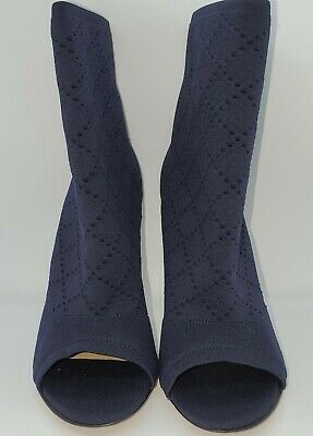 New Gianvito Rossi Blue Peep Toes Suede Trim Ankle Sock Boots, Made In Italy