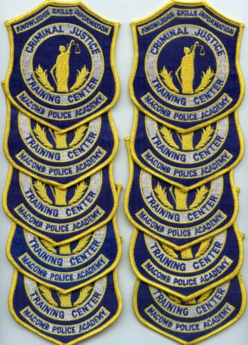 MACOMB MICHIGAN POLICE ACADEMY Trade Stock 10 Police Patches POLICE PATCH
