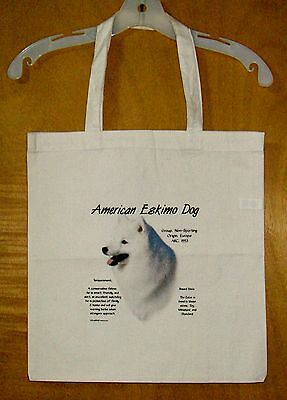 "AMERICAN ESKIMO ""History of the Breed"" Cotton Tote Bag / 15""x15"" / Full color"