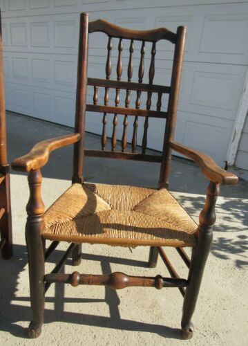 RARE GORGEOUS 18TH CENTURY WILLIAM AND MARY OPEN ARM CHAIR W/ RUSH SEAT