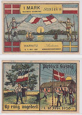 1 Mark Banknote Notgeld Gemeinde Warnitz Dänemark 5.5.1920 (122219)