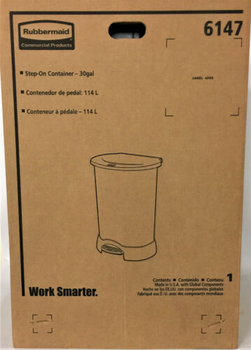 Rubbermaid Step-on Container, 30 gal Capacity, Plastic, FG614700