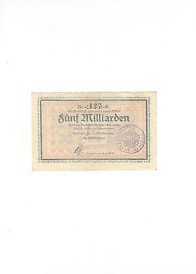 Rupertus 87.4b   Notgeldschein Stadtgemeinde Haslach  5 Mrd Mk  23.10.1923