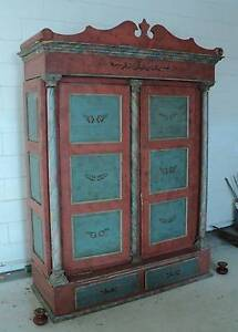 Antique Danish Hand Painted Armoire, Circa 1850 - 1870 Byron Bay Byron Area Preview