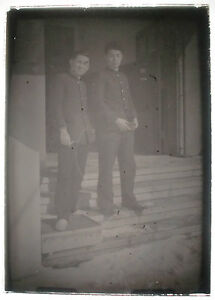 Glass-Photo-Magic-Lantern-Slide-Two-Students-Japanese-c-1930s