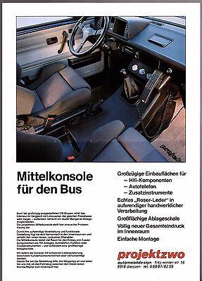 Volkswagen Transporter Bus Projektzwo Centre Console 1989-90 German Brochure