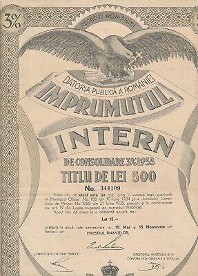 Aktie Rumänien: datoria publica a romaniei imprumutul intern de consolidare 1935