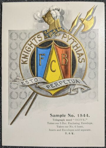 Vintage Knights of Pythias FCB Unused Card Sample No. 1544 KoP Masonic