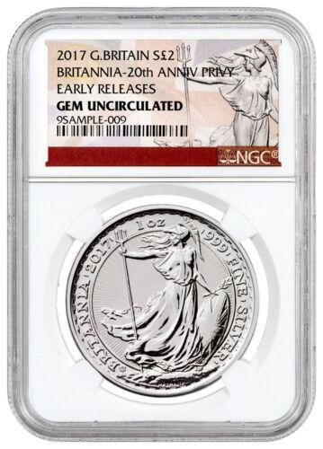 2017 Britain 1 oz Silver Britannia 20th Trident Privy £2 NGC GEM UNC ER SKU46488