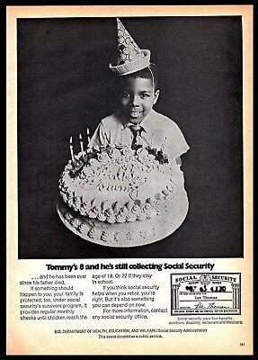 1974 Social Security Governmental Benefits Boy Birthday Cake Vintage 1970S Ad