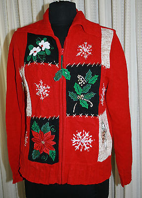 Christmas Sweater Cardigan Sz M Tiara Ugly Zip Front Sequins Knit Red Womens for sale  Shipping to United Kingdom