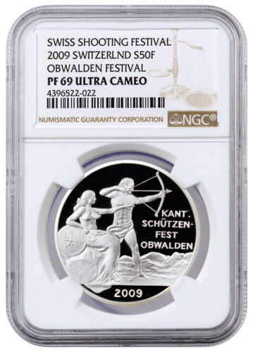 2009 Switzerland Silver Shooting Festival Thaler Obwalden NGC PF69 UC SKU41956