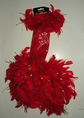 Red & Gold Feather Tinsel Boa Metallic Flapper Halloween Costume Accessory](Gold Feather Boas)