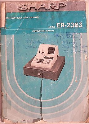 Sharp Er-2363 Cash Register Instruction Manual Only