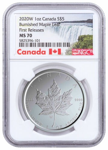 2020 W Canada 1 oz Burnished Silver Maple Leaf $5 NGC MS70 FR W/COA SKU59504