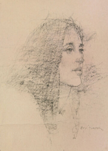 """Framed, Triple-Matted Original Signed Max Turner Drawing, """"Young Woman"""""""
