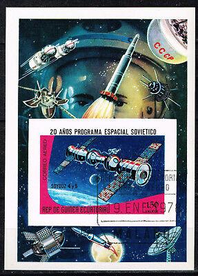 Equatorial Guinea Soviet Space Station Soyuz 4 5 Souvenir Sheet 1970