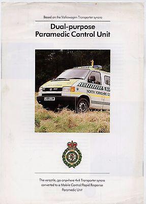 Volkswagen Transporter Paramedic Control Unit 1994 UK Market Leaflet Brochure