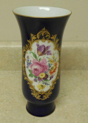 Meissen Dresden Porcelain - Hand Painted Flowers - Cobalt Blue & Gilt Vase
