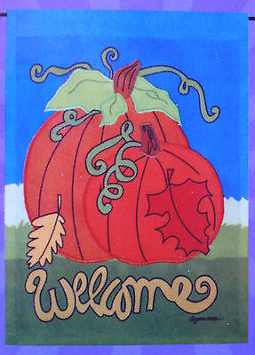 "small Applique Autumn Viny Pumpkins ""Welcome"" Garden Art Flag (11"" x 15"")"