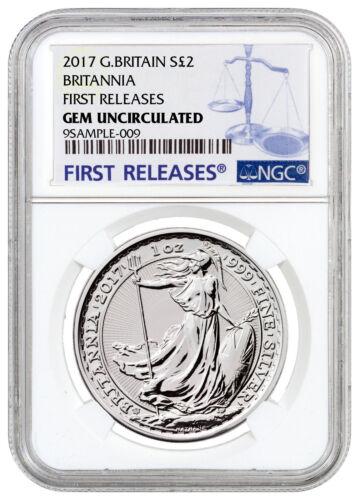 2017 Britain 1 oz Silver Britannia 20th Trident Privy £2 NGC GEM UNC FR SKU46497