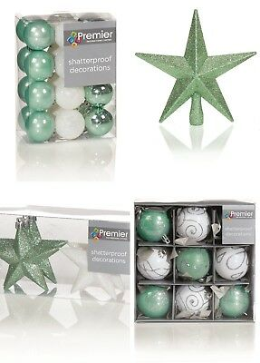 Christmas Tree Decorations Xmas Tree Baubles Glitter Gloss & Matt Green & White ()