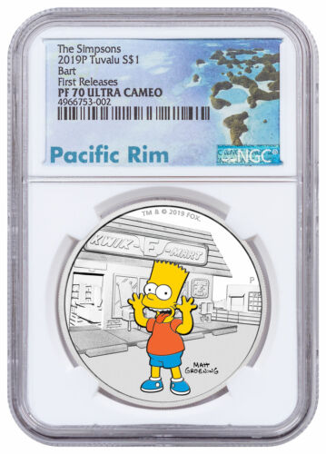 2019 P Tuvalu Simpsons Bart 1 oz Silver Colorized NGC PF70 UC FR SKU57908
