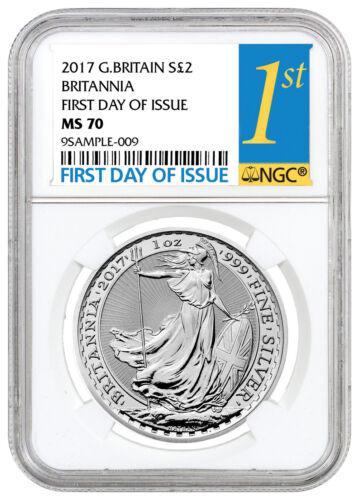 2017 G. Britain 2 Pound 1 oz Silver Britannia NGC MS70 First Day Issue SKU43894