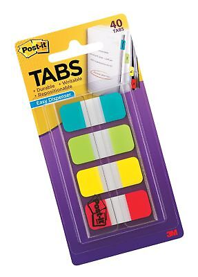 Post-it Tabs.625 In. Solid Aqua Lime Yellow Red Durable Writable Repos...