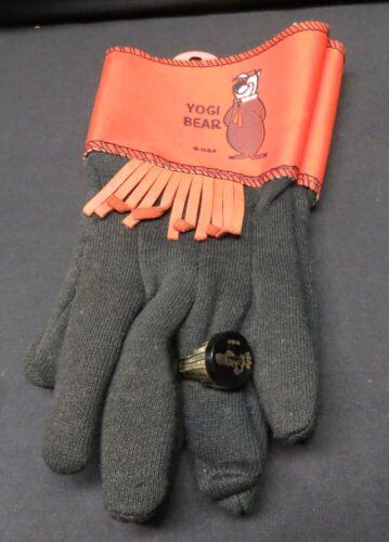 Vintage Childs Yogi Bear Hanna Barbera Huckleberry Hound Gloves w/Ring