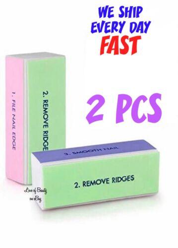 2 PCS SET 4 Way Buffer Block Shine File Polish Nail Art Professional Beauty Tool